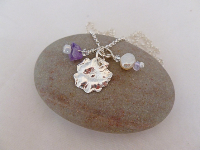 Fine Silver Rose Pendant With Amethyst, Crystal & Pearl, Mother's Day gift