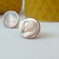 Copper Hand Stamped Bee Stud Earrings