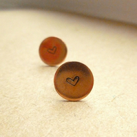 Copper Heart Stamped Earrings