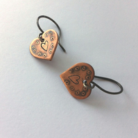 Copper Handstamped Love Heart Earrings