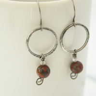 Oxidised Silver Dangly Hoop Earrings With Crystal & Jasper  Beads