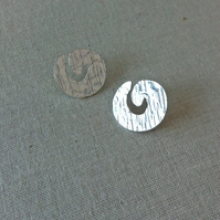 Silver Swirl Textured Stud Earrings, Handmade