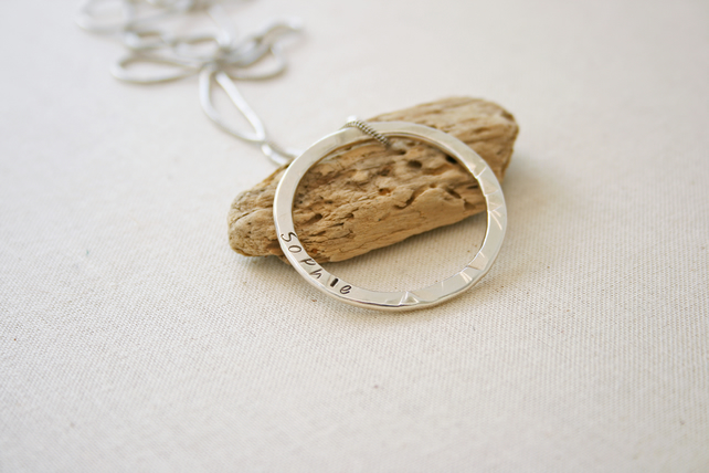 Sterling Silver Personalised Hammered Circle Name Pendant, Keeosake Gift