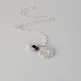 Eco Silver Rose Handmade Pendant, Garnet, Crystal and Carnelian Beads,
