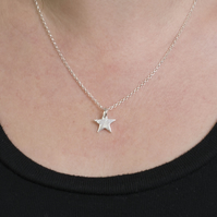 Eco Silver Sparkly Star Pendant Handmade Necklace, gift for her