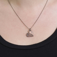 Rustic Copper Heart Pendant With Leaf Pattern