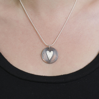 Copper and Sterling Silver Folk Heart Circle Pendant, gift for her