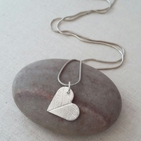 Fine Silver Heart Pendant With Leaf Pattern