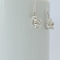 Sterling Silver Wire Twist Handmade Dangle Earrings, Xmas gift, gift for her