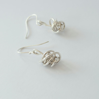 Sterling Silver Wire Twist Handmade Dangle Earrings