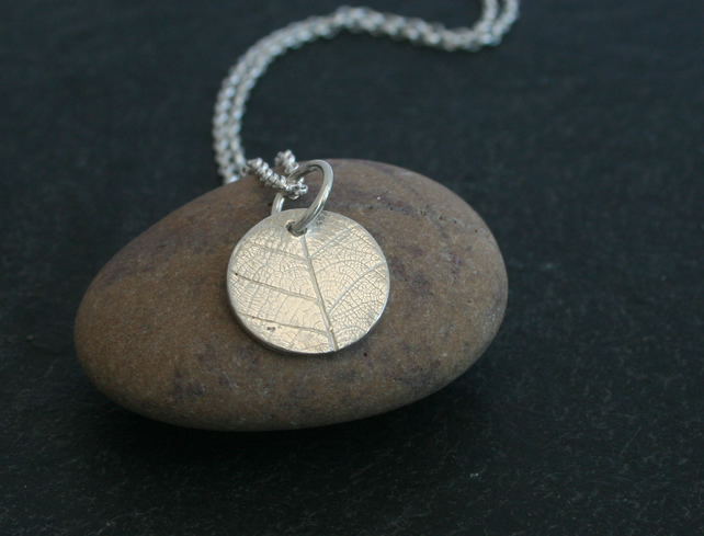 Eco Silver (fine recycled silver) Circle Pendant With Leaf Pattern