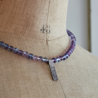 Rainbow Fluorite Bead Necklace with Sterling Silver Bark Pendant, Oxidised