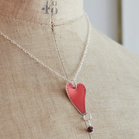 Red Aluminium Handmade Love Heart Pendant with Garnet Bead, Valentine's Day Gift