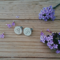 Eco Silver Recycled Silver Honey Bee Stamped Stud Earrings
