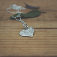 Fine Silver Heart Pendant With Leaf Pattern, Nature Jewellery, Gift for her