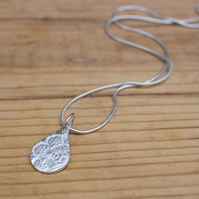 Eco Silver (fine recycled silver) Teardrop Pendant With Vintage Lace Pattern