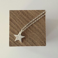 Eco Silver Sparkly Star Pendant Handmade Necklace