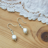 Swarovski Crystal & Freshwater Pearl Dangle Earrings, Sterling Silver