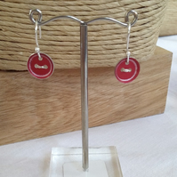 Red Button Handmade Aluminium Dangle Earrings
