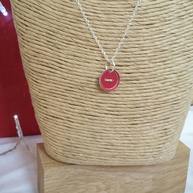 Red Button Aluminium Pendant with Sterling Silver Chain