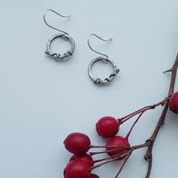Sterling Silver Oxidised Winter Hedgerow Hoop Earrings, Handmade