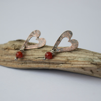 Valentine's Heart Copper Earrings, Oxidised with Carnelian Beads