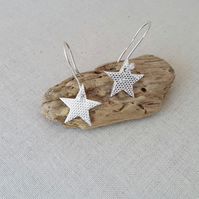 Eco Silver Sparkly Star Dangly Earrings, Gift for Her