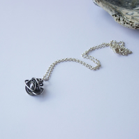 Sterling Silver Wire Twist Pendant, Oxidised Recycled Silver, Gift For Her