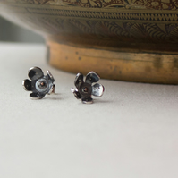 Cherry Blossom Stud Earrings, Oxidised Sterling Silver & Copper, Gift for her