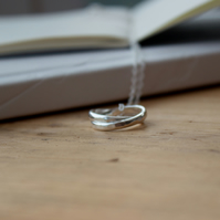 Sterling Silver Textured Interlinking Rings Pendant