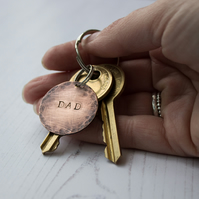 Copper Disc Stamped Personalised Keyring, keepsake gift,xmas gift for him