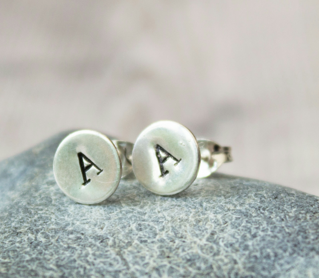 Ecosilver Stamped Initial Stud Earrings, Personalised Earrings, simple studs