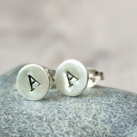 Ecosilver Stamped Initial Stud Earrings, Personalised Earrings, Stocking filler