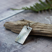 Ecosilver Fern Leaf Pattern Oxidised Rectangle Pendant, Nature inspired