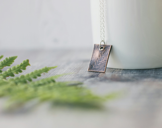 Copper Oxidised Fern Leaf Pattern Pendant Nature Inspired Gift for Her