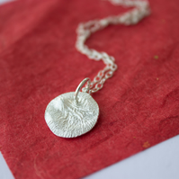 Reticulated Silver Textured Circle Moon Pendant, Recycled Silver, Gift for her