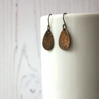 Copper Abstract Floral Pattern Teardrop Earrings, Handmade gift for her