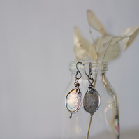 Reticulated Silver Honesty Seed Pod Handmade Earrings, Oxidised Sterling silver