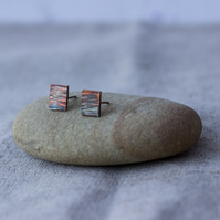 Oxidised Sterling Silver Bark Texture Rectangle Stud Earrings, Eco friendly