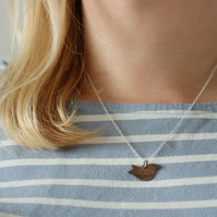 Copper Christmas Robin Bird Pendant, Handmade Gift For Her