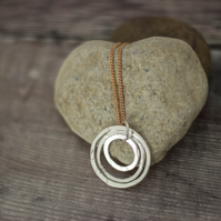 Ecosilver Triple Hoops Pendant,Sparkly Textured Recycled Silver, Rose Gold Chain