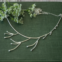 Hedge Parsley Collar Necklace, Handmade Recycled Sterling Silver, Gift for Her