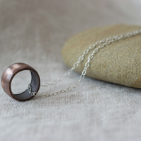 Recycled Copper Bead Tube Pendant, Textured Copper Pipe Bead Necklace