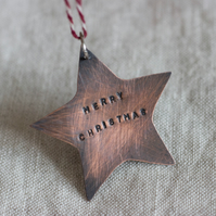 Copper Star Personalised Handcut Christmas Decoration,  with a choice of message