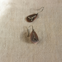Copper & Silver Seed Head Nature Inspired Rustic Earrings,Gift for Nature lover