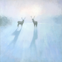Reindeer Painting Signed Fine Art Print