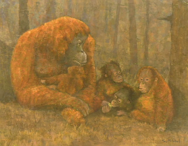 Orangutans, Signed Giclee Art Print 13.75x11 inches