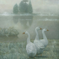 The Three Geese Painting Signed Fine Art Print