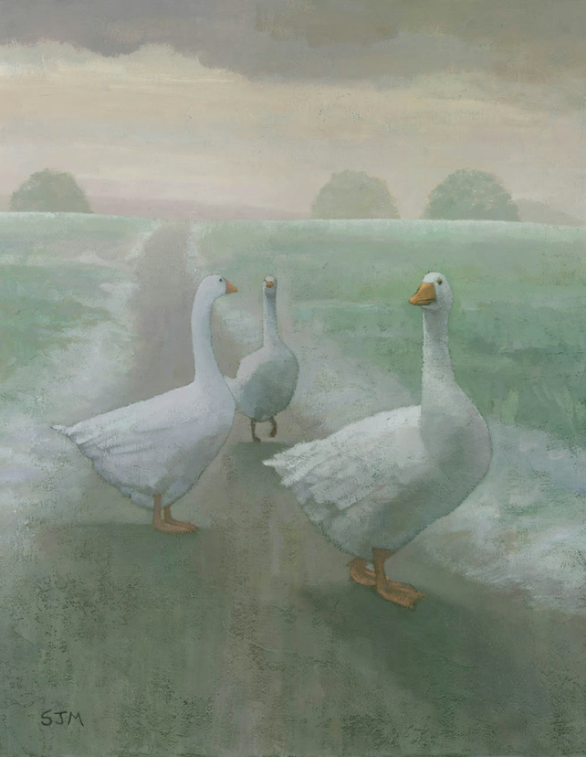 The Wandering Geese, Wildlife Painting, Signed Fine Art Print 15.5x11 inches