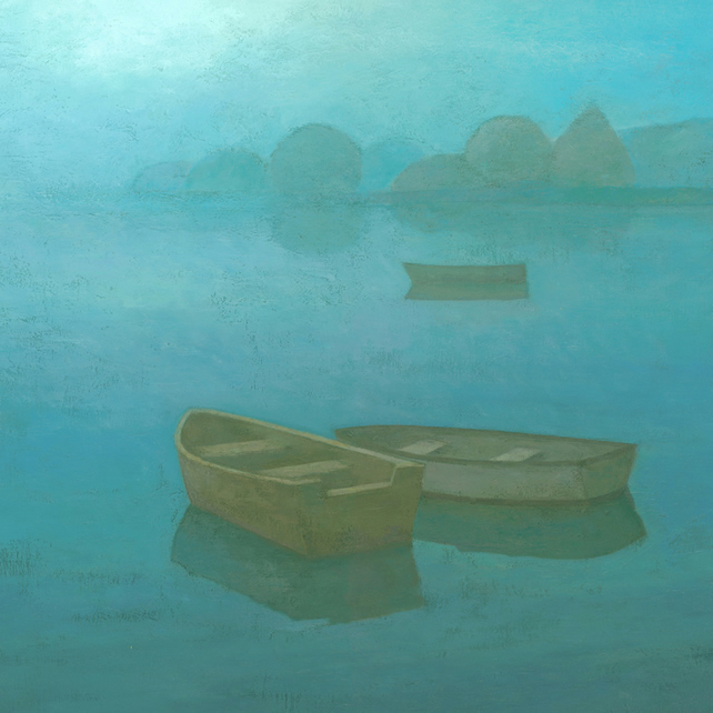 Blue Mist II, Signed Fine Art Print 11x11 inches